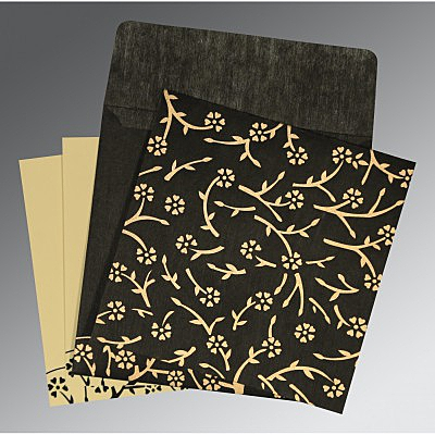 Black Wooly Floral Themed - Screen Printed Wedding Invitation : CI-8216K - IndianWeddingCards