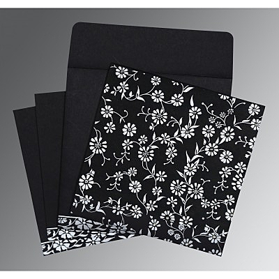 Black Wooly Floral Themed - Screen Printed Wedding Card : CIN-8222J - IndianWeddingCards