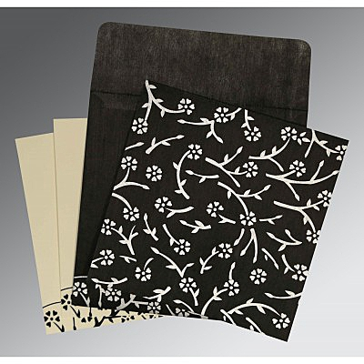 Black Wooly Floral Themed - Screen Printed Wedding Invitation : CS-8216N - IndianWeddingCards