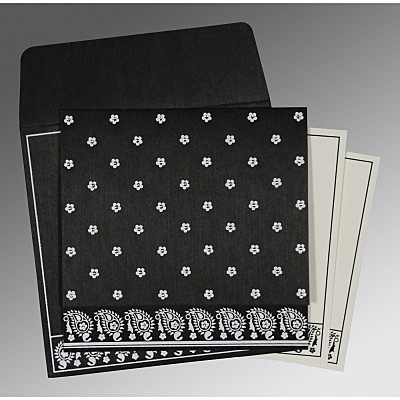 Black Wooly Floral Themed - Screen Printed Wedding Card : CS-8218L - IndianWeddingCards