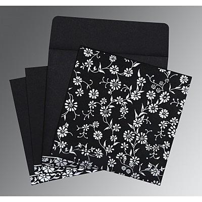 Black Wooly Floral Themed - Screen Printed Wedding Card : CS-8222J - IndianWeddingCards