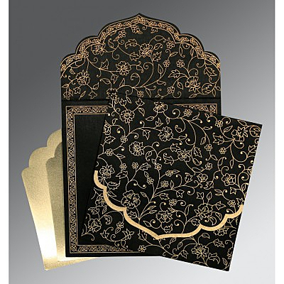 Black Wooly Floral Themed - Screen Printed Wedding Invitation : CW-8211N - IndianWeddingCards