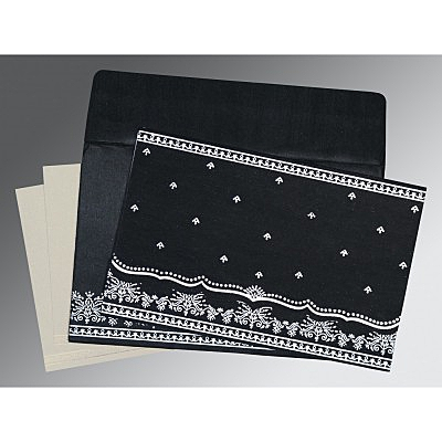 Black Wooly Foil Stamped Wedding Invitations : CD-8241O - IndianWeddingCards