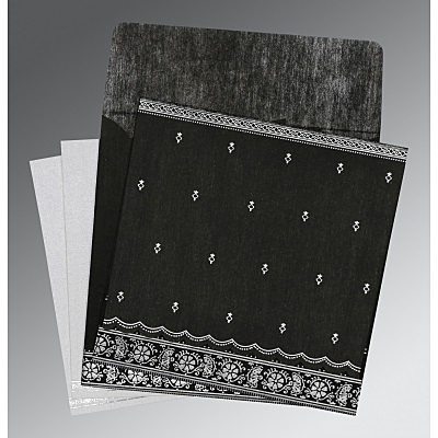 Black Wooly Foil Stamped Wedding Card : CS-8242B - IndianWeddingCards