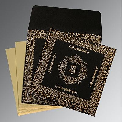 Black Wooly Glitter Wedding Card : CC-8205K - IndianWeddingCards