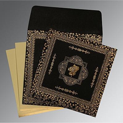 Black Wooly Glitter Wedding Card : CI-8205K - IndianWeddingCards