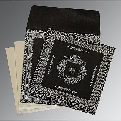 Black Wooly Glitter Wedding Card : CS-8205L - IndianWeddingCards