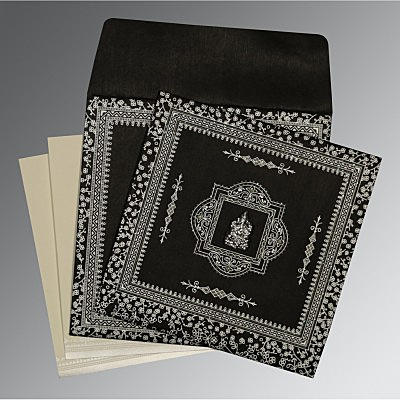 Black Wooly Glitter Wedding Card : CW-8205L - IndianWeddingCards