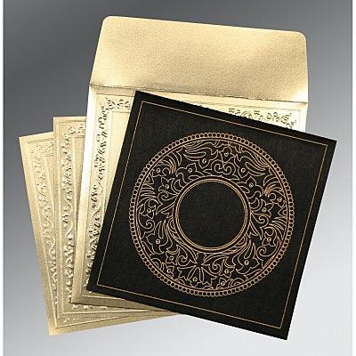Black Wooly Screen Printed Wedding Card : CD-8214D - IndianWeddingCards
