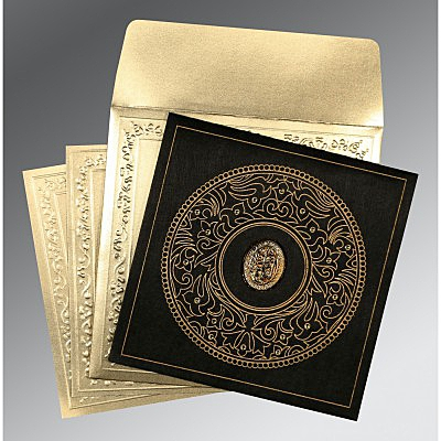 Black Wooly Screen Printed Wedding Card : CI-8214D - IndianWeddingCards