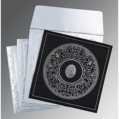 Black Wooly Screen Printed Wedding Card : CI-8214N - IndianWeddingCards