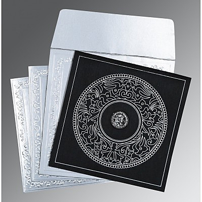 Black Wooly Screen Printed Wedding Card : CS-8214N - IndianWeddingCards