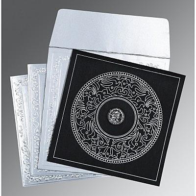 Black Wooly Screen Printed Wedding Card : CS-8214N - IndianWeddingCards