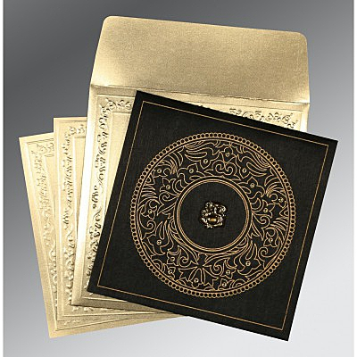 Black Wooly Screen Printed Wedding Card : CW-8214D - IndianWeddingCards