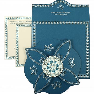 Blue Butterfly Themed - Screen Printed Wedding Invitation : CIN-820D