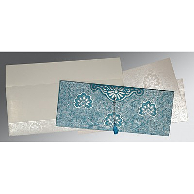 Blue Handmade Cotton Embossed Wedding Invitation : CC-1410 - IndianWeddingCards