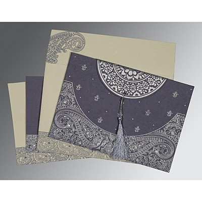 Blue Handmade Cotton Embossed Wedding Card : CIN-8234J - IndianWeddingCards