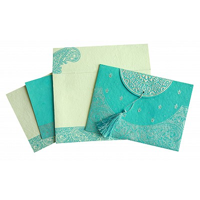 Blue Handmade Cotton Embossed Wedding Card : CIN-8234K - IndianWeddingCards