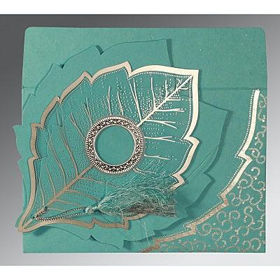 Blue Handmade Cotton Floral Themed - Foil Stamped Wedding Card : CRU-8219P - IndianWeddingCards
