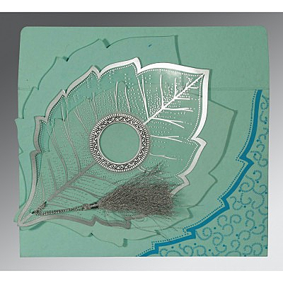 Blue Handmade Cotton Floral Themed - Foil Stamped Wedding Card : CW-8219C - IndianWeddingCards