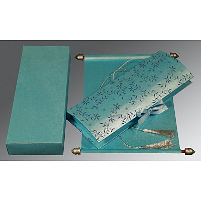 Blue Handmade Shimmer Wedding Invitation : CSC-5007D - IndianWeddingCards