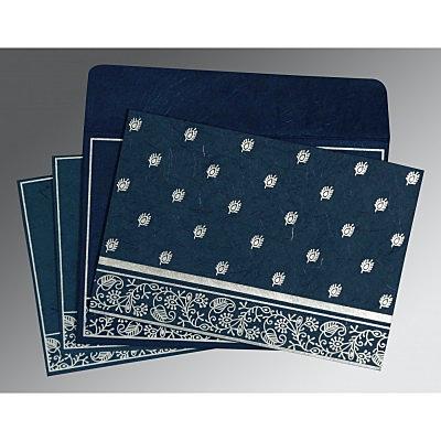 Blue Handmade Silk Screen Printed Wedding Card : CRU-8215I - IndianWeddingCards