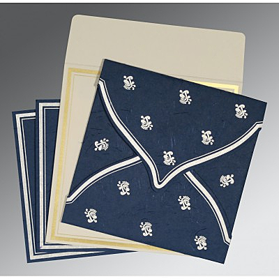 Blue Handmade Silk Unique Themed - Screen Printed Wedding Card : CD-8203F - IndianWeddingCards