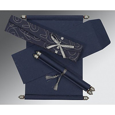 Blue Handmade Silk Wedding Card : CSC-5002D - IndianWeddingCards