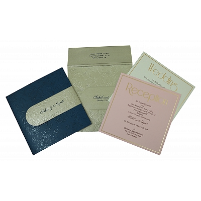 Blue Matte Box Themed - Embossed Wedding Invitation : CD-1799 - IndianWeddingCards