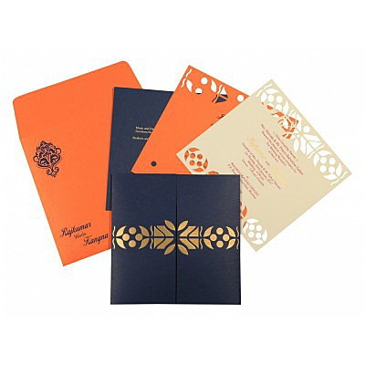 Blue Matte Embossed Wedding Invitation : CW-8260F - IndianWeddingCards