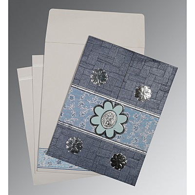 Blue Matte Floral Themed - Embossed Wedding Card : CI-1285 - IndianWeddingCards