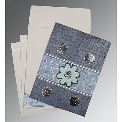 Blue Matte Floral Themed - Embossed Wedding Card : CIN-1285 - IndianWeddingCards