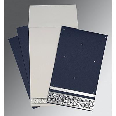 Blue Matte Foil Stamped Wedding Invitation : CI-1433 - IndianWeddingCards