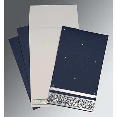 Blue Matte Foil Stamped Wedding Invitation : CIN-1433