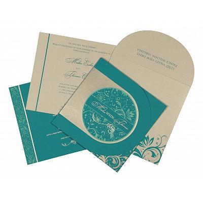 Blue Matte Paisley Themed - Screen Printed Wedding Card : CD-8264G