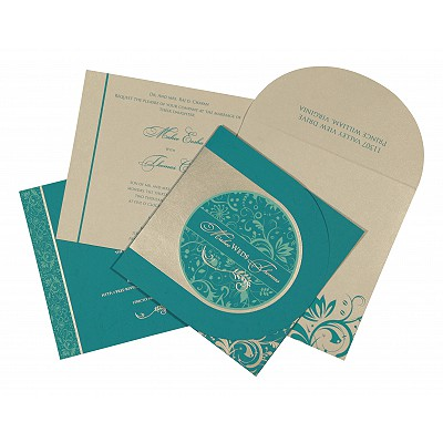 Blue Matte Paisley Themed - Screen Printed Wedding Card : CIN-8264G
