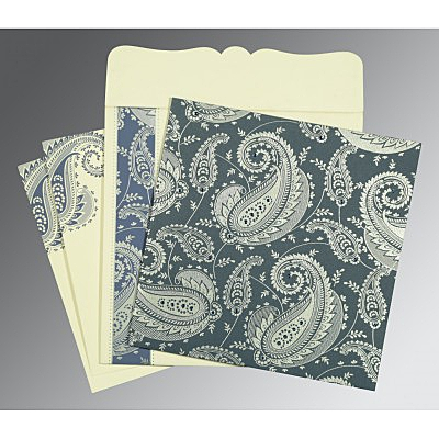 Blue Matte Paisley Themed - Screen Printed Wedding Card : CW-8250E - IndianWeddingCards
