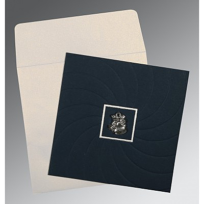 Blue Matte Pocket Themed - Embossed Wedding Card : CC-1436 - IndianWeddingCards