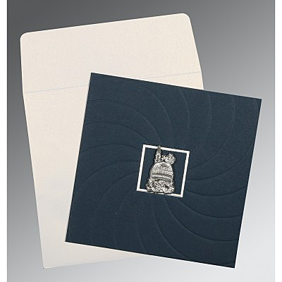 Blue Matte Pocket Themed - Embossed Wedding Card : CI-1436 - IndianWeddingCards