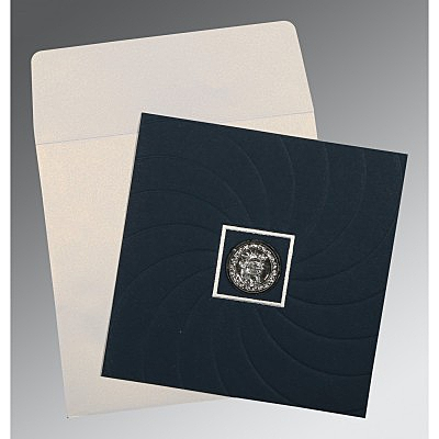 Blue Matte Pocket Themed - Embossed Wedding Card : CS-1436 - IndianWeddingCards
