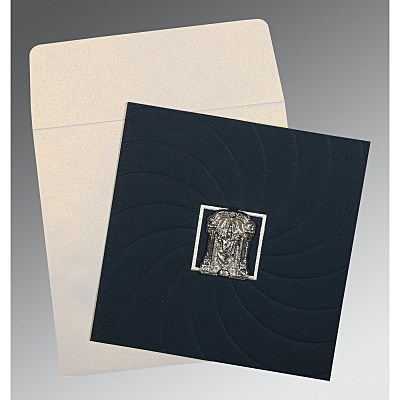 Blue Matte Pocket Themed - Embossed Wedding Card : CSO-1436 - IndianWeddingCards