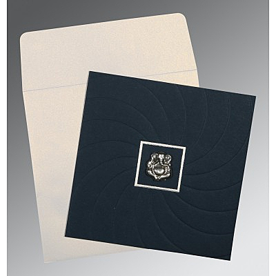 Blue Matte Pocket Themed - Embossed Wedding Card : CW-1436 - IndianWeddingCards