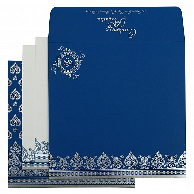 Blue Matte Screen Printed Wedding Invitation : CIN-809D - IndianWeddingCards
