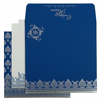 Blue Matte Screen Printed Wedding Invitation : CW-809D - IndianWeddingCards