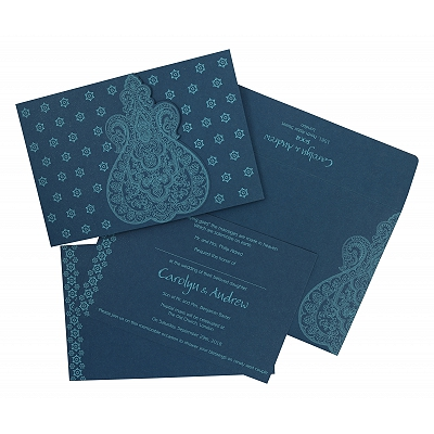 Blue Paisley Themed - Screen Printed Wedding Invitation : CC-801E - IndianWeddingCards