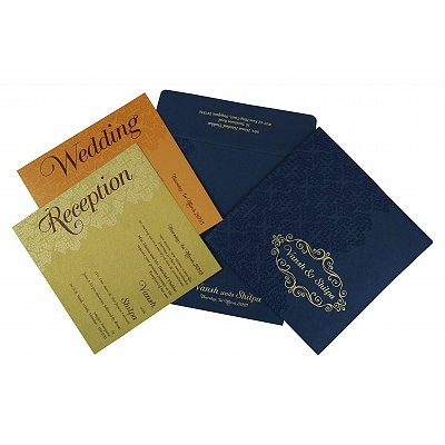Blue Shimmery Box Themed - Foil Stamped Wedding Invitation : CD-1796 - IndianWeddingCards