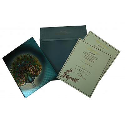 Blue Shimmery Box Themed - Offset Printed Wedding Invitation : CW-1834 - IndianWeddingCards