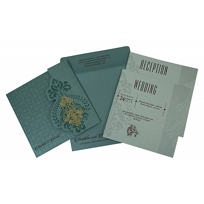 Blue Shimmery Box Themed - Screen Printed Wedding Invitation : CD-1797