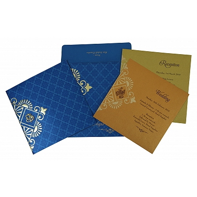 Blue Shimmery Box Themed - Screen Printed Wedding Invitation : CW-1795 - IndianWeddingCards