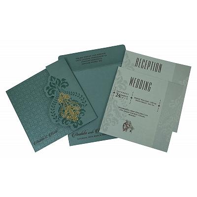 Blue Shimmery Box Themed - Screen Printed Wedding Invitation : CW-1797 - IndianWeddingCards